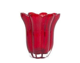 Vintage Ruby Red Glass Vase Petal Shaped Blown Glass Flared Rim Flower Shape Candle Holder Planter Valentines Day Wedding Centerpiece