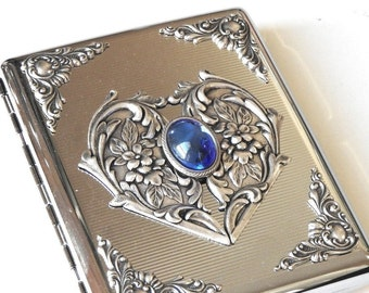Women Cigarette Case Blue Stone Cigarette Case Silver Victorian Cigarette Case for 100's Vintage Style Case Cigarette Holder  Gift for Her