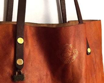 HOLIDAY SALE /// Tote Bag / Vintage Cognac Color / Carry-All / Lap Top Bag / Veg Tan