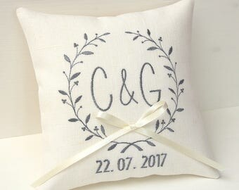 Ivory Ring pillow wedding ring bearer pillow wedding day pillow personalized ring pillow monogram pillow linen wedding pillow