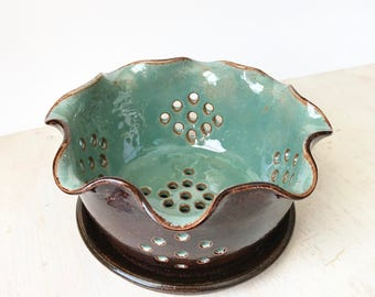 Pottery Berry Bowl - Berry Bowl Colander - Ceramic Strainer - Ceramic Colander - Ceramic Berry Basket - Wheel Thrown Pottery