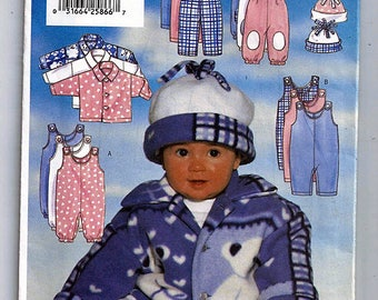 Infants' Jacket, jumpsuit, Pants & Hat Size L-XL / Original Butterick Uncut Sewing Pattern 5092 / L