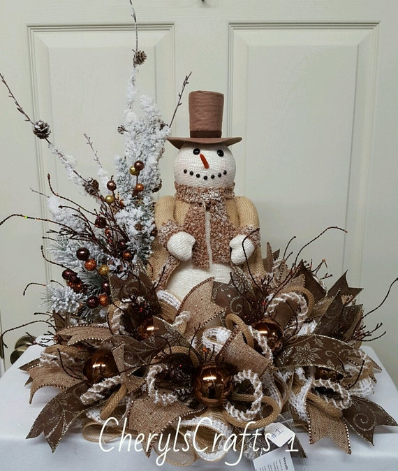 Christmas snowman centerpiece winter table by cherylscrafts