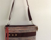 Hand Woven Plarn - Yarn of Recycled Upcycled Plastic Bags and Audio Cassette Tape - Crossbody Bag, Purse, Shoulder Bag in Brown, Orange, Tan