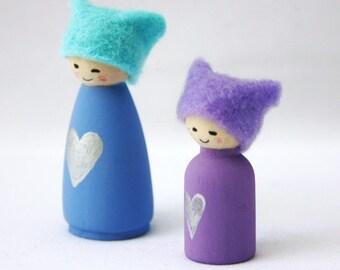 Silver Heart Miniature Cornish Pixie Elf Set