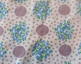 vintage feed sack fabric -- turquoise check tablecloth