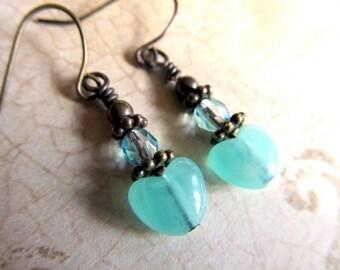 Art Nouveau Earrings Vintage Heart Jewelry Heart Dangle Earrings Art Deco Earrings Fantasy Jewelry Mint Green Drop Earrings-Breezy