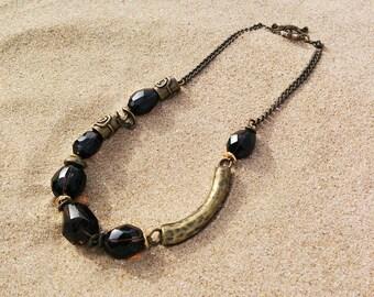 Rauhtopaz necklace, brutal necklace, brass necklace, smoky quartz necklace, smoky quartz crystal, collar con cuarzo ahumado, boho jewelry