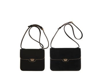 Suede leather shoulder bag ENIKO, AMALIA // black, w. gold piping (Italian calf skin) - FREE shipping, unique bag