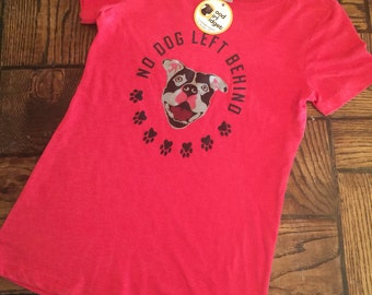 All sizes!women's Animal rights rescue HEATHER RED scoop shirt No dog left behind pitbull graphic Benefits dog rescue