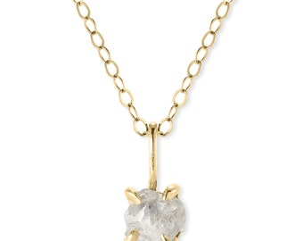 1 Carat Rough Diamond Necklace, Recycled 14k Yellow Gold