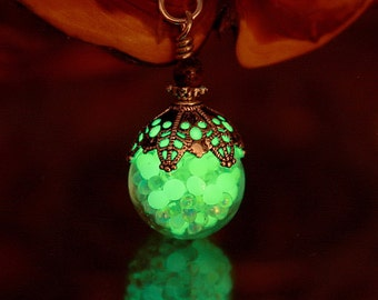 IRIDESCENT Glass Balls and Nuggets GLOW in the DARK Pendant
