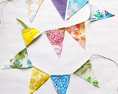 flag bunting, vintage fabric garland, fabric banner, garland fabric, pennant garland, bunting banner, vintage fabric sheets bunting,