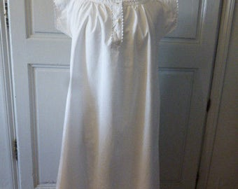 Vintage French Cotton Nightdress Nightgown Chemise du nuit Minor Damage