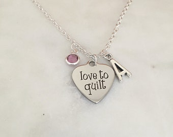 Personalized Love to Quilt Necklace