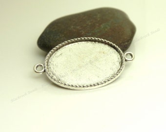 10 Rope Edge Oval Cabochon Connector Settings - Antique Silver Tone - Fits 18x25mm Cab, Bezel Trays, Cameo Base, Pendant Blank - BC24