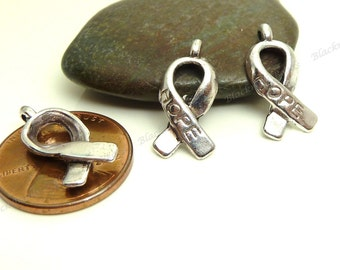Bulk 30 Breast Cancer Awareness Hope Charms or Pendants - Antique Silver Tone Metal - 18x8mm - 3D Charms - BC23