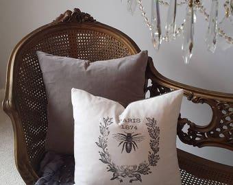 Paris Pillow 1874 Bee Wreath 15X16 Black Cream Print Checks Romantic Shabby Chic Cottage French Farmhouse Decor Throw Pillow Down Insert