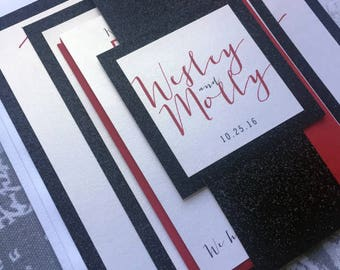 Wedding Invitations, Suite pocket, Red, black and pearl white with belly band. Minimalist and modern wedding decor.