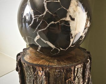 Huge Rare Michigan Lightning Stone Septarian Concretion Sphere with stand