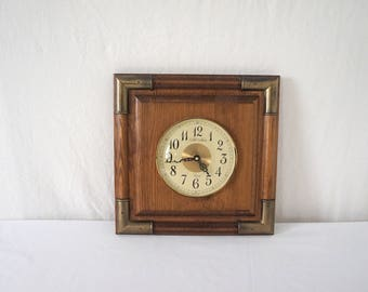 Vintage Square Wood Wall Clock with Convex Glass
