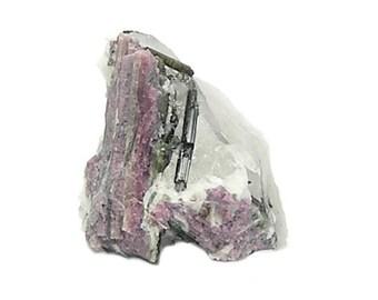 Watermelon Tourmaline Crystals in quartz rock matrix, Pink Rubellite and Green Tourmaline Mineral Specimen, Semiprecious Gemstone