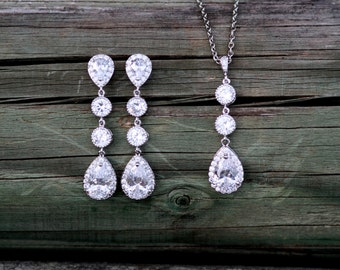 Bridal Zirconia Wedding Set, Earrings Necklace Set, Bridesmaids Jewelry, Crystal Drop Earrings, Cubic Zirconia Earrings,Kardashian style