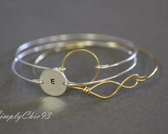 Personalized Gold Bangle Bracelet Set Three Custom Gold Engraved ,Bridal Gift,Bridesmaids Jewelry,Infinity Bracelet,Gold Circle Cuff :)