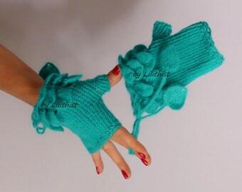 Knit Fingerless Gloves, Wool Gloves, Knit Gloves, Crochet Arm Warmers, Women Winter Gloves, Crochet Gloves, Turquoise Blue Arm Warmers