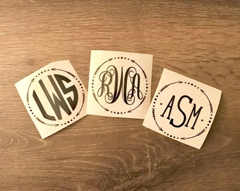 Arrows Circle Monogram Decal Yeti Decal, Monogram, Vinyl Monogram Phone Sticker