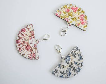 Floral Fan Zipper Pull Set Magenta Blue and Pink with Gold Fan Charms Purse Charm Sewing Notions Progress Keepers Gift Ideas