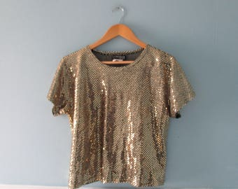 Vintage gold sparkly crop top / 1980s box top / gold and black shiny top / sparkly disco shirt / size petite medium