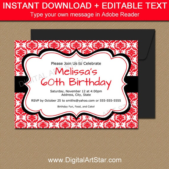 Red and Black Invitation Template, EDITABLE Red Birthday ...