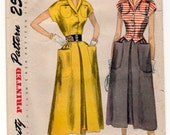 """1940s Simplicity V-neck Blouse and Skirt with oversize pockets pattern - Bust 30"""" - No. 3158"""