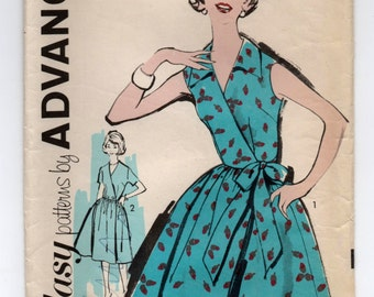 """1950's Advance Wrap Dress with Full Skirt Pattern - Bust 34"""" - No. 2710"""