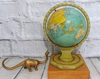 Antique Vintage Tin World Globe, 1920's Globe with Months Seasons and Zodiac Signs on Base, Retro Home / Office Decor