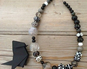 Black and white handblown lampwork glass necklace