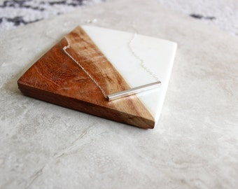 Silver Rectangle Bar Necklace, Simple Necklace, Delicate Necklace