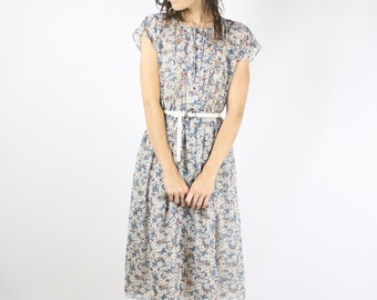 Blue floral vintage day dress, Dreamy 70s picnic dress, Secretary dress, Japanese vintage dress, Small 4010