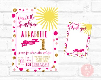 DIY You Are My Sunshine Invitation Kit - Invite AND Thank You Card included