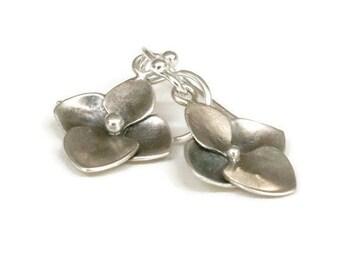 Hydrangea Earrings, Silver Flower Earrings, Flower Dangle Drops Flower Jewelry  , Artisan Handmade  by Sheri Beryl