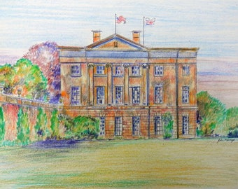 American Museum Bath, print of a coloured pencil drawing by John Menage size A3 or A4