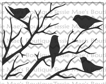 SVG, DXF, EPS, Birds on a branch, Tessie Maes, Cutting File, Silhouette, Scrapbooking file, Red Birds, Black Birds, Christmas, Tree, Branch