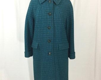 vintage 1960s tweed coat / blue green / wool / Harris Tweed-esque / winter coat / women's vintage coat / size large