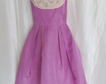 Vintage as is 40s 50s beaded dress, lavender purple fancy dress, spaghetti strap, short summer dress, theater dress, size XS S,  costume