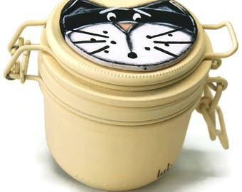 Pot with black cat - Cat candy jar - Cat croquette pot