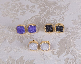 Gold dipped large druzy square stud earrings, purple, charcoal black, white sparkly earrings, golden bohemian jewelry, stone post earrings
