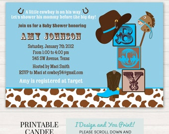 Cowboy Baby Shower Invitation - Cowboy Baby Shower - Western Baby Shower - Rustic Baby Shower - Printable Cowboy Baby Shower