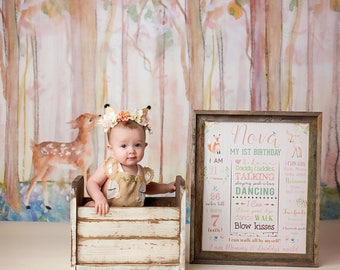 Woodland Princess Birthday Chalkboard Sign, Fox Deer Birthday, Milestone Sign, Printable Stats Sign, 1st Birthday Custom Board, Not Printed
