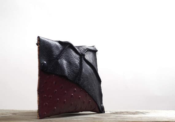 Twisted Leather Clutch -  Women's Leather Clutch - Leather Clutches - OOAK Leather Clutch - Burgundy Leather Clutch